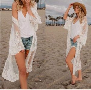 Sweaters - Womens white lace kimono cover up cardigan